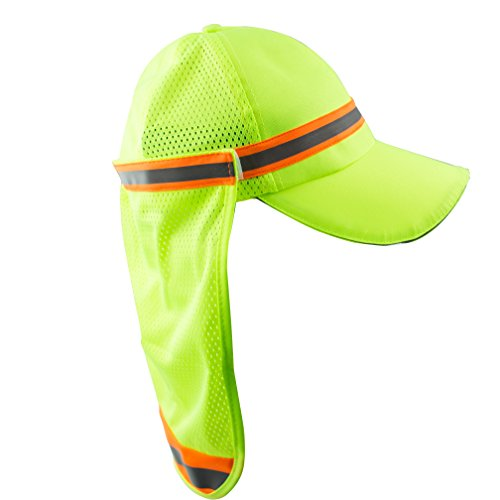 New York Hi-Viz Workwear High Performance Hat/ Cap with Neck Shade (Lime)