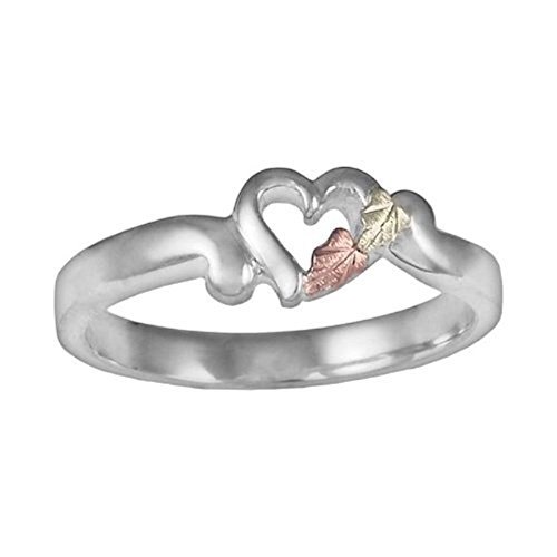 Petite Heart Bypass Ring, Sterling Silver, 12k Green and Rose Gold Black Hills Gold Motif, Size 12 by Black Hills Gold Jewelry