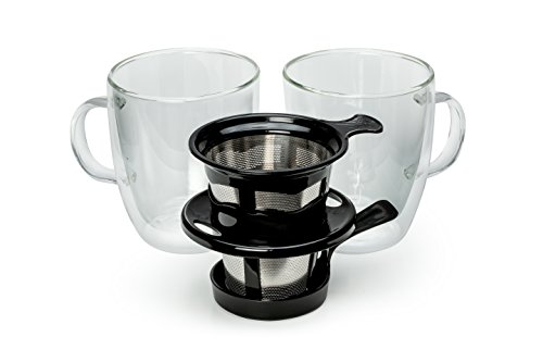 - Java Concepts 17319 Pour Over Filter And 2 Double-Wall Glass Mugs, Black