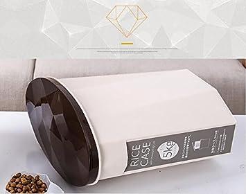 Huakaiduo Gato Mascota Tazón Caja de Almacenamiento sellada plástica del Barril del alimento del Animal doméstico del Diamante (café): Amazon.es: Productos ...