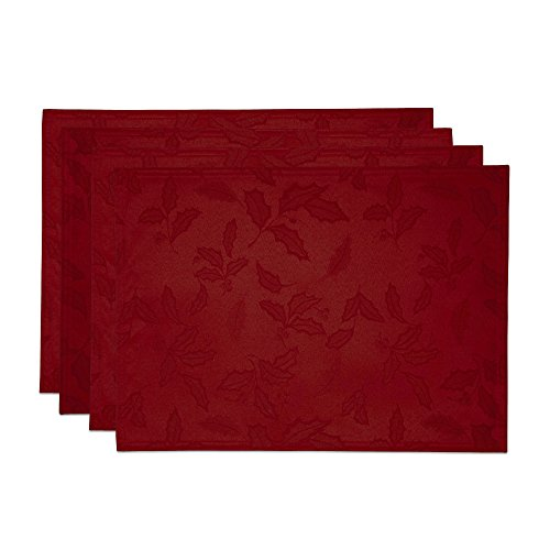 Lenox Holly Damask Placemat, Set of 4, - Christmas Napkins Placemats And
