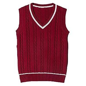Gilet en Coton Unisexe Pull Tricoté Chaud sans Manche Femme Fille Costume de Cosplay Gilet Scolaire Classique Veste…