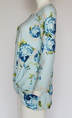 Shirts Irrgulier New Blouses Print et Fashion Automne Digital Ourlet Femme Rond Shirts T Tops Printemps Bleu Haut Chemisiers Col Ciel Jumper Manches Tunique Longues 66qr7