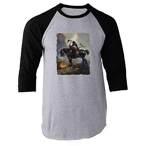 Death Dealer by Frank Frazetta Art Horror Black XL Raglan Baseball Tee Shirt