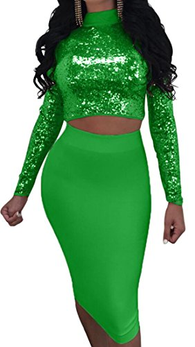 Multi Turtleneck Skirt Wear Women's Piece Top Clubwear amp;S Green Bodycon Lace Sequins 2 Outfit Up Set Bandage amp;W M fnxWPXwXR