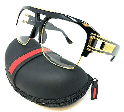 (Gazelle B-Boy Square Metal & Plastic Retro Aviator Sunglasses (Black & Gold Frame w/Case, Clear))