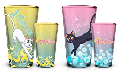 Official Sailor Moon Luna and Artemis Pink and Yellow Color with spot decal, Set of 2, 16 oz