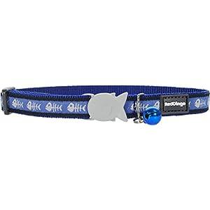 Red Dingo Designer Cat Collar, Fishbone Blue
