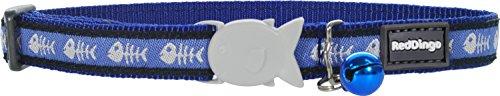 - Red Dingo Designer Cat Collar, Fishbone Blue