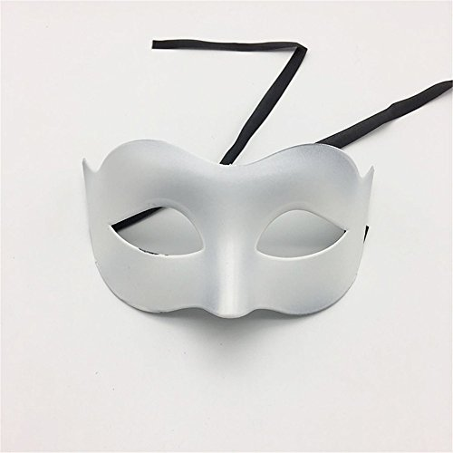 (Mardi Gras Party Masquerade Mask,Glamour Men Mask Halloween Makeup Prom Mask Ladies Solid Color Minimalist Half Face Zorro Mask Mask White Prom)