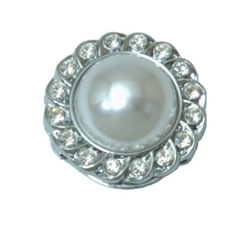 Eyeglass Holder Brooch with Crystals Bezel - White Pearl by Tapp Collections