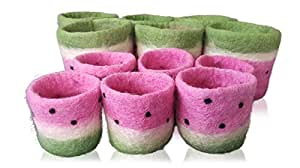 Tik Tak Design Co. Pot Planter – Designer Felt Holder for Succulents, a Cactus, Flowers or Other Plants - Great Desk Supplies, Pen, Pencil Organizer - Small & Large Pots – 100% New Zealand Wool (6S6L)