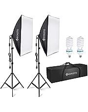 GEEKOTO Softbox Lighting, Video Softbox, Photo Softbox, Studio Lights 51cmx71cm, Photography Continuous Softbox Lighting Kit with 2(85W 5500K) E27 Bulbs, Ideal for Studio Portraits,Product Photography