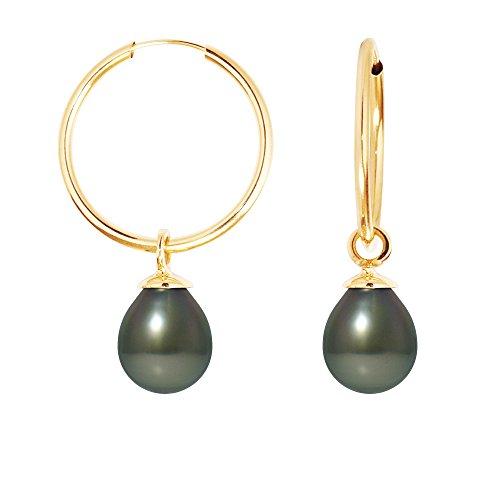 Pearls & Colors - Créoles - Or jaune 9 cts - Perle de culture de Tahiti - AM-9BOT 131 SB8J