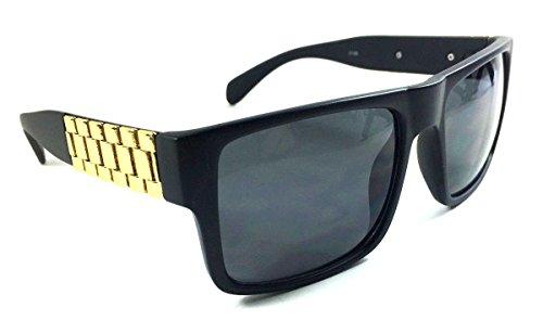 Metal Links Watch Band Square Hip Hop Sunglasses (Matte Black & Gold Frame, - Sunglass Bands