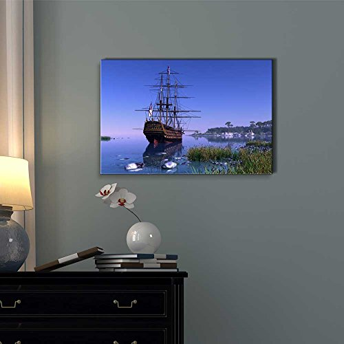 Beautiful Scenery of Sailboat in The Lagoon at Sunset Wall Decor