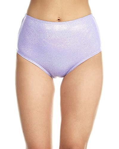 iHeartRaves Bunny Tail Sparkle Rave High Waisted Shorts (Small, Lavender)