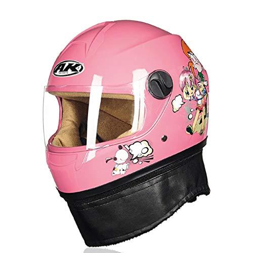 ZXW Kinderhelm Elektro Motorrad Cartoon Winter Junge Mädchen Einstellbare Größe Full Face Helm (Farbe : A, größe : 54cm)