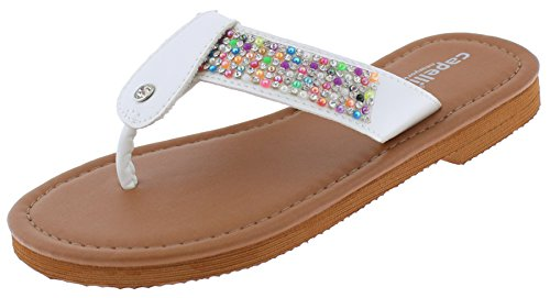 Wt White Trims 4 (Capelli New York Girls Fashion Flip Flops with Multi-Color Beading Trim White Combo 3/4)