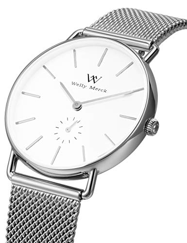 WM WELLY MERCK Mesh Watch for Women,Classy Minimalistic Ultra Slim Stainless Steel 36MM Case with Swiss Quartz Movement,Sapphire Crystal,Interchangeable Mesh Band,5ATM Waterproof -