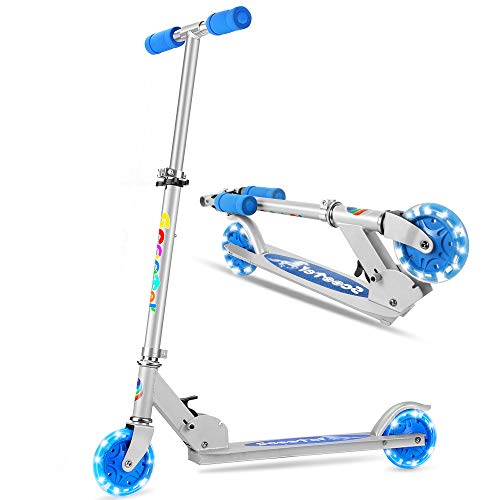 OUTON Folding Kick Scooter for Kids 2 Wheel Kids Scooter, 3 Adjustable Height, LED Light Up Wheels Toddler Scooter US Safety Certified Ages 4
