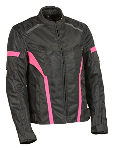 Milwaukee Leather Women's Nylon/Mesh Combo Moto Jacket with Armor Black/Pink 4X