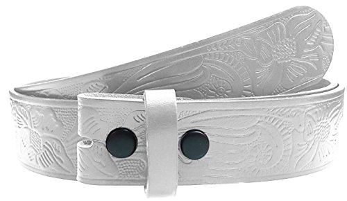 Sm Flower (LUNA Western Embossed Tooled Leather Belt Strap - Flower Type 3 - White - SM)