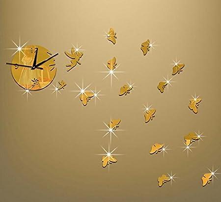 GroBartig JOEu0026FEI Uhr Scheibe Persönlichkeit Spiegel Schmetterling Uhr Wand Uhr  Wanduhr Für Wohnzimmer Wände Zimmer Dekoration Ideen
