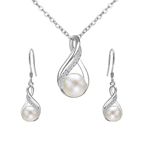 White Pearl Bridal Necklace Earring (EleQueen 925 Sterling Silver CZ Cream Freshwater Cultured Pearl Infinity Bridal Necklace Hook Earrings Set)