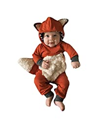 Perman Baby Boys Girls Striped 3D Animal Hooded Romper Jumpsuit Clothes