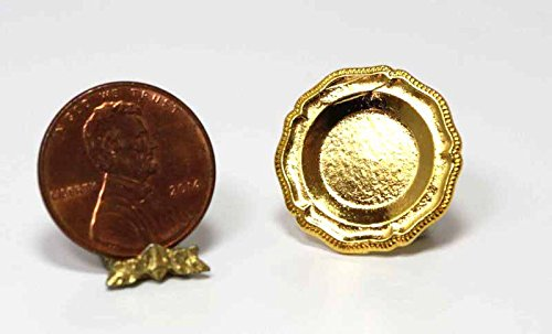 Dollhouse Miniature Intricately Designed Gold Plate by Warwick - Designed Intricately
