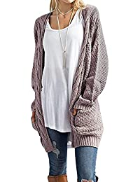 Womens Long Sleeve Sweater Cardigan Open Front Loose Chunky Outwear with Pockets