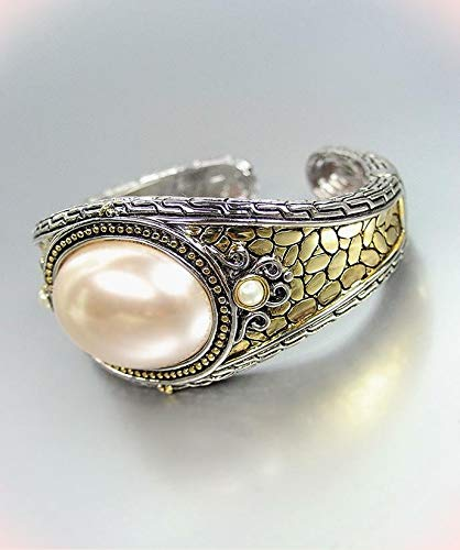 Wow Designer Style Balinese Silver Bracelet Gold Texture Creme Pearl Hinge Cuff Bracelets For Women