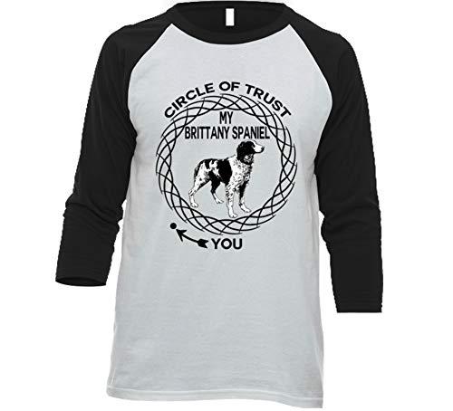 (Brittany Spaniel Circle of Trust Dog Lovers Raglan T Shirt S White/Black)