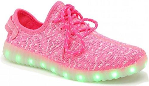 LED Light Up Shoes Trainers 11 Color Patterns, USB Rechargeable Sport Shoes, Sneakers for Men, Women, Boys, & Girls - Sizes 25-46 (37 EU / 5 Big US Kid / 5.5-6 M US Women, Pink - (Laces))