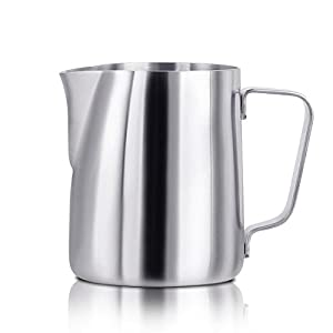 iMucci 12 oz 304 18/8 Stainless Steel Milk Frothing Pitcher - Garland Cup With Measurement Marking For Milk Tea Coffee And Latte Art from iMucci