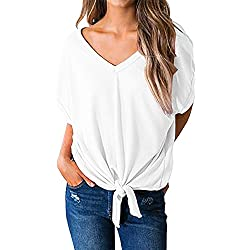FUMIKAZU Womens Short Sleeve Scoop V Neck Blouses Loose Fit Tie Front Top Tees