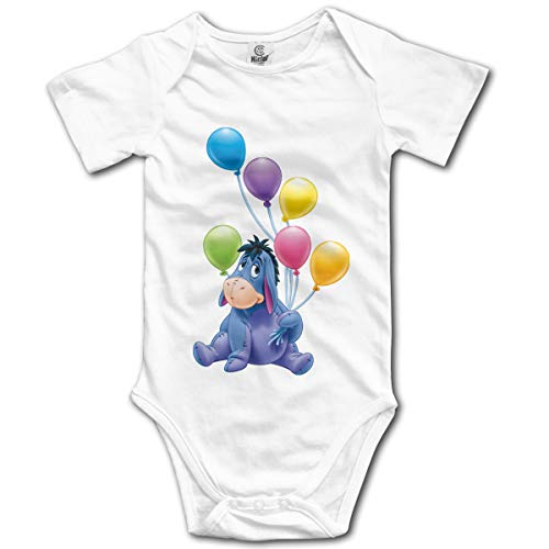 NEXT DAY ONE Donkey Piglet Winnie Pooh Eeyore Baby Bodysuit Short Sleeve Onesies for Boys and Girls White