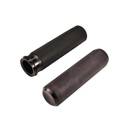 Arlen Ness Fusion Grips - Black Knurled Rubber with Billet End Caps- For use with 2008-2015 Harley FLH FLT Fly-By-Wire - Bobber Chopper Cafe Racer