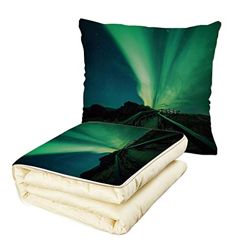 iPrint Quilt Dual-Use Pillow Northern Lights Wooden Bridge Solar Sky Scenic Radiant Rays Arctic Magic Scenery Multifunctional Air-Conditioning Quilt Fern Green Dark Blue by iPrint