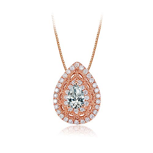 (Carleen 14k Solid Rose Gold Pear Shaped Diamond Pendant Necklace For Women Girls (0.3cttw, I-J Color, SI2 Clarity), 16