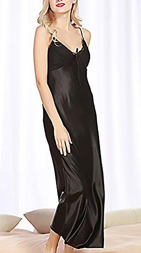Lunga Di Chemise Pigiama Camicia Donna Eleganti Nott Camicie Semplice Luxury Estivo Notte Glamorous Nero Da V Spaghetti Scollo Moda Cinghia Da AE8wEfq
