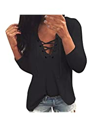 kingfansion Women Lace-up Casual Long Sleeve Tops Shirt Ladies Loose T-Shirt Blouse