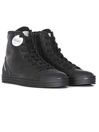 Hogan Rebel Hi Top Sneakers Uomo HXM1410V440DZX0XCG Pelle Nero