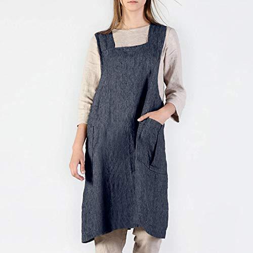 (FAERIE Women Cotton Linen Stripe Pinafore Square Cross Apron Garden Work Pinafore Dress (Gray, XXL))