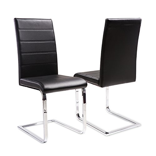 Merax 2 Pcs Dining Chairs in Black with chrome Metal Leg and PU leather (2pcs)