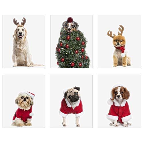 Christmas Dogs Prints - Set of 6 (8x10) Festive Santa Reindeer Tree Costumes Wall Art Decor - Shih Tzu - Australian Shepherd - Pomeranian - Pug - Cavalier King Charles -