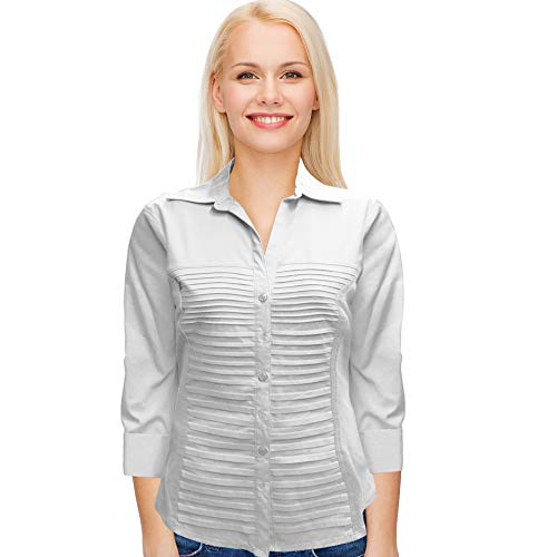 (Rib Knit Woven 3/4 Sleeve Blouse Fit Pleated Button Down Casual Tops by Zac and Rachel (White, X-Large))