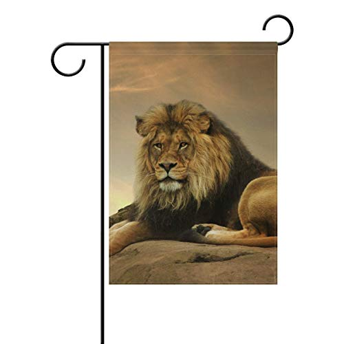 Wlioohhgs Garden Flag 12x18 Inches Double Sided African Animal Lion King Stone Sitting Sunset Banner Outdoor Lawn Decor