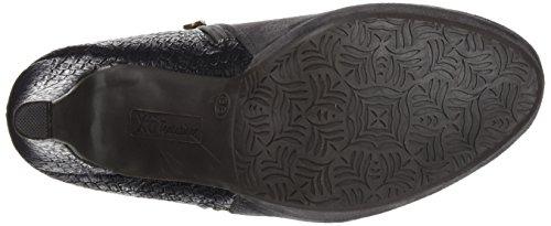 XTI Botin Sra. Antelina Combinada Gris, Zapatos de Tacón con Punta Cerrada para Mujer Gris (Gris)